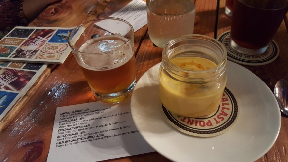 Celery root & butternut squash soup with Ballast Point Cherry fathom
