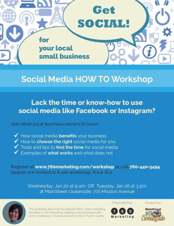 Social Media Workshop for Small Business at MainStreet Oceanside Flyer (1)