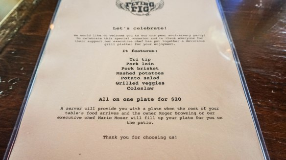 flying pig anniversary menu