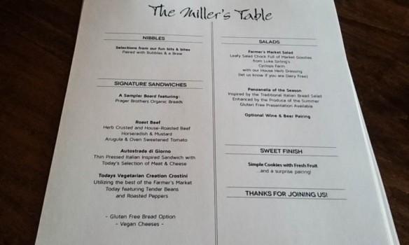 miller's table menu